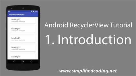 recyclerview tutorial android studio android development 1 android recyclerview tutorial introduction youtube