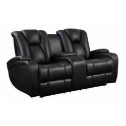 coaster delange faux leather power reclining loveseat in