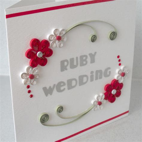 Paper For Card - quilled 40th anniversary card ruby wedding co folksy