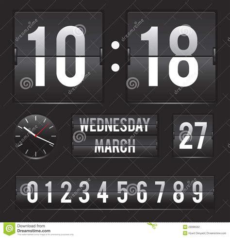 Calendario Contador Retro Flip Clock With Date And Dual Timer Stock Vector