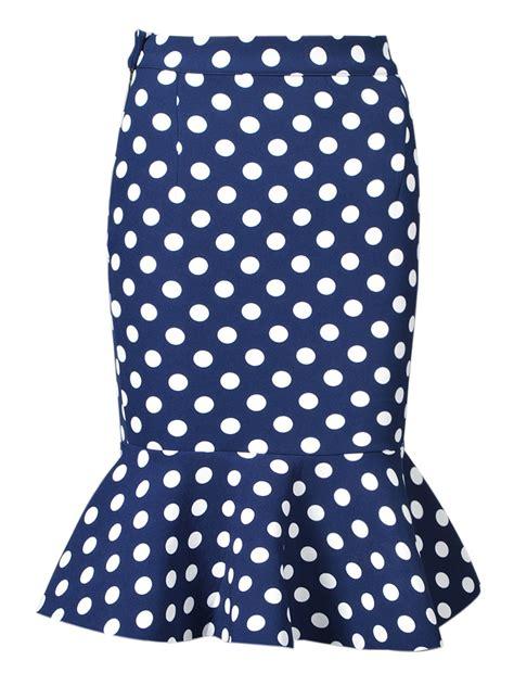 navy polka dot midi pencil skirt with flounce hem choies