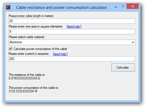 resistor power consumption calculator cable resistance and power consumption calculator