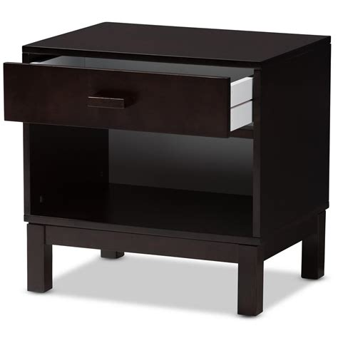 Baxton Studio Nightstand by Baxton Studio Deirdre 1 Drawer Brown Nightstand 143