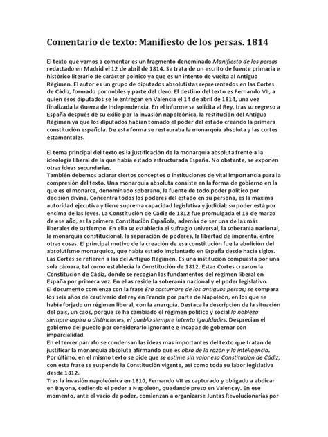 Comentario Manifiesto de Los Persas 1814 | Constitución