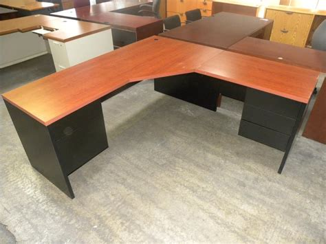 cherry l shaped desk l shaped symmetrical 6 desk with double pedestals black