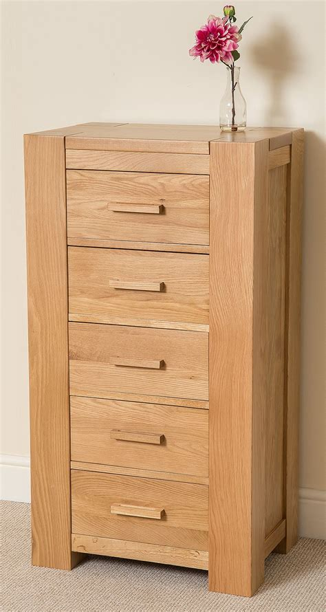 chunky oak bedroom furniture kuba chunky solid oak wood 5 drawer tallboy chest of drawers bedroom furniture ebay