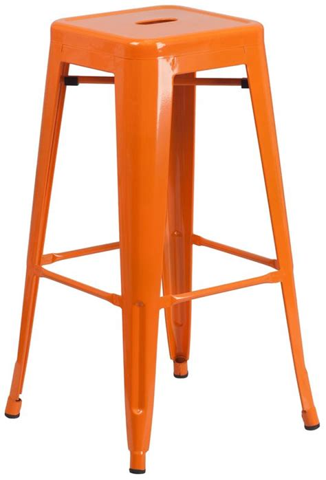 Stool Is Orange by 30 Quot Backless Orange Metal Bar Stool Bar Restaurant