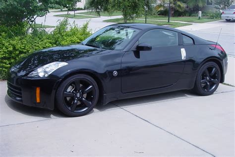 blue nissan 350z with black rims powder coat stock 06 rims black my350z com nissan