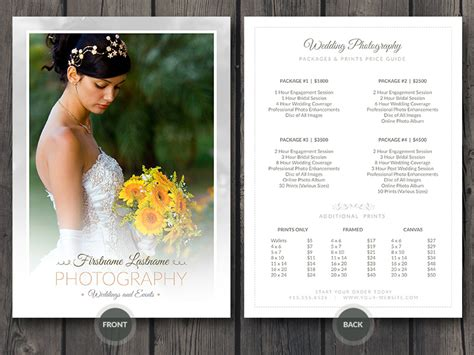 photoshop templates for photographers wedding photographer price guide card template wedding