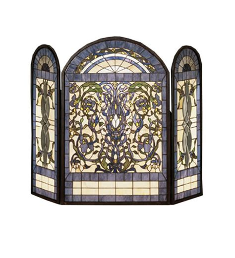 Stained Glass Fireplace Screens Sale by Meyda Ribbons Flowers Folding Fireplace Screen