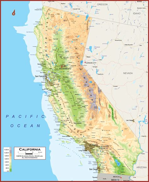 california map geographical california physical state map