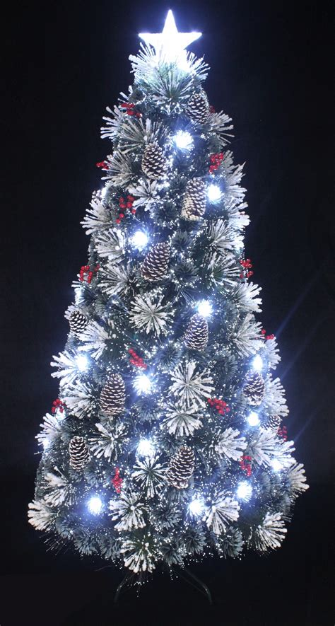white fibre optic christmas tree the 5ft snowy led frosted pine fibre optic tree