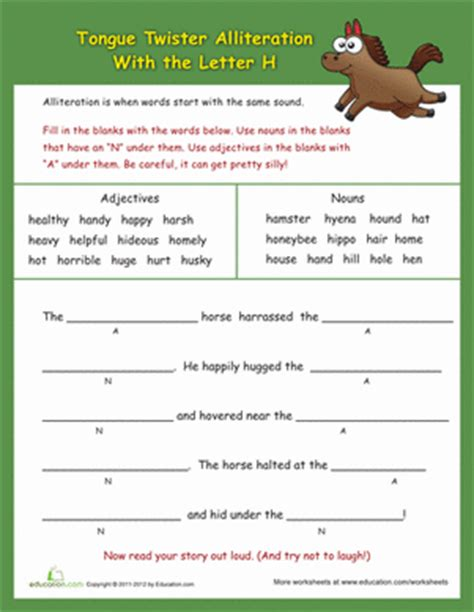 Alliteration Worksheet by Alliteration Tongue Twisters Quot H Quot Worksheet Education