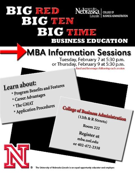 Unl Mba Application Deadline by Mba Information Sessions Announce Of