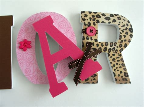 Decorated Wooden Letters For Nursery Custom Wood Letters Leopard Nursery Decor Baby Animal Print Home Wood Letters And