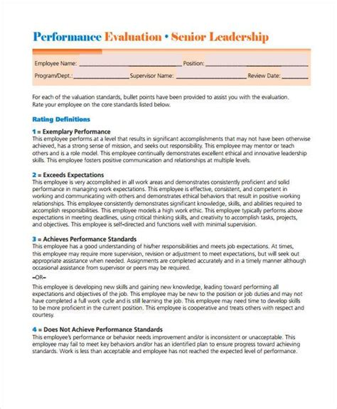 leadership evaluation form templates images templates