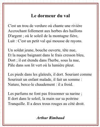 Le Dormeur Du Val De Rimbaud by Arthur Rimbaud Le Dormeur Du Val