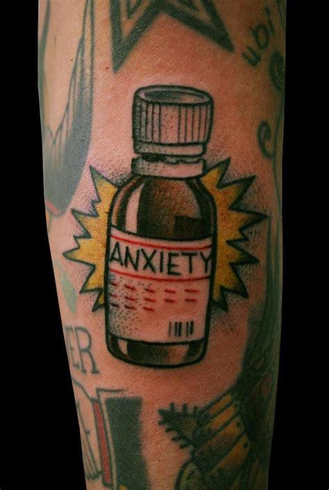 anxiety bottle  tattoo design ideas