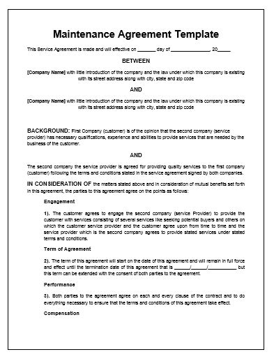 sle service agreements maintenance agreement template microsoft word templates