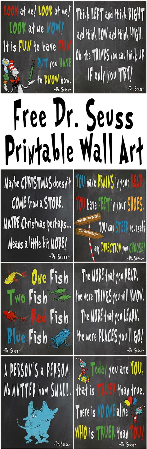 free decorating ideas free dr seuss printables for decorating a classroom or