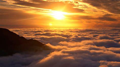 wallpaper clouds mountain sun top sun above the clouds