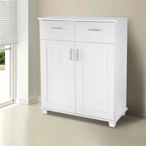 White Shoe Storage Cabinet High Gloss Shoe Storage Cabinet Organizer Closet 4 Shelf Rack 2 Drawers White Ebay