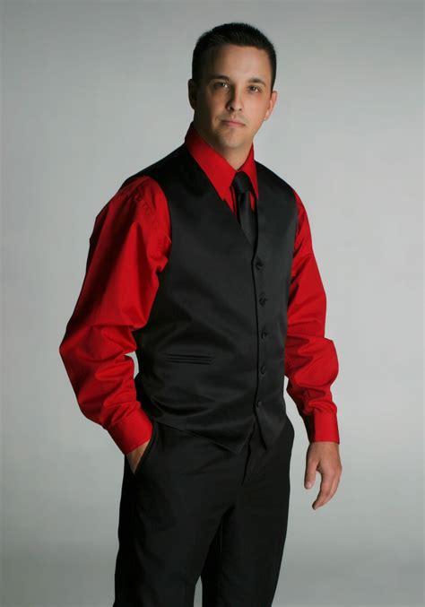 Black Suit Red Shirt With Vest   vest suit black vest set tie no jacket interesting men
