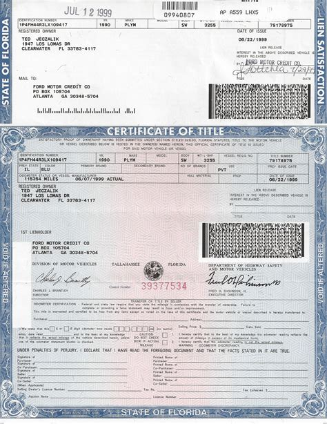 Car Title Types by Florida Department Of Motor Vehicles Titles Impremedia Net
