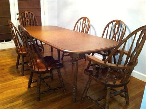 Early American Dining Room Furniture Er Buck Colonial Early American Solid Maple Dining Table W Leaves 6 Chairs Ebay
