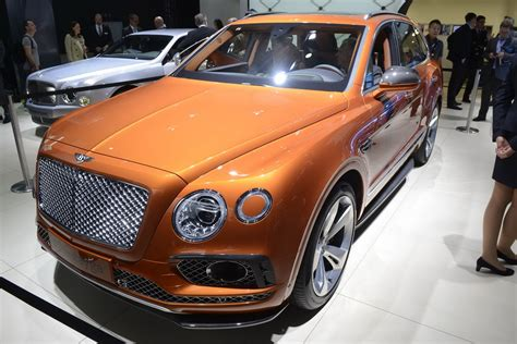 orange bentley bentayga bentley s posh bentayga suv rolls out in frankfurt carscoops
