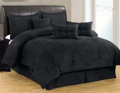 7 pc solid black micro suede comforter set queen size new