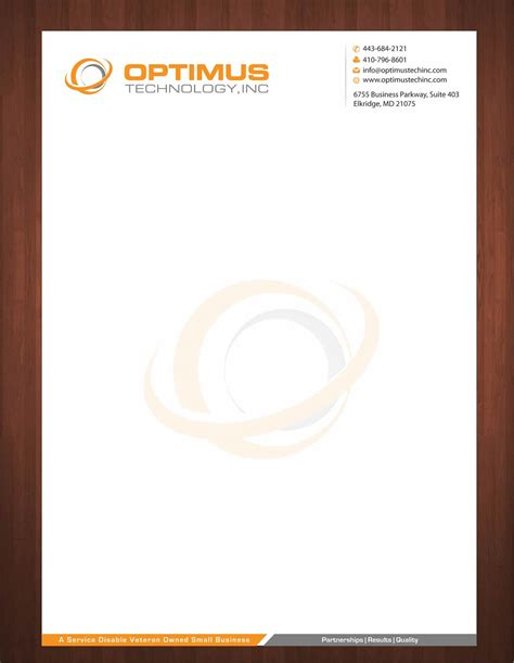 Banner Design Ideas by Serious Professional Letterhead Design For Optimus Technology Inc By Smart Design 2355593