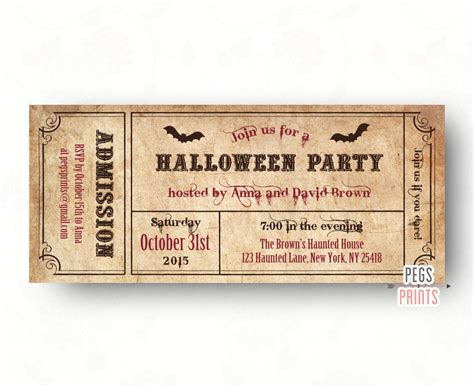 printable party tickets halloween party invitations adult halloween invitation