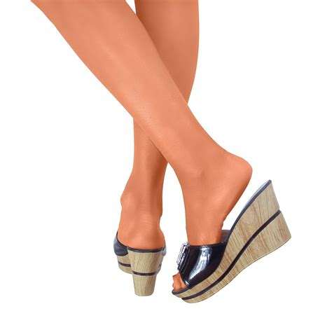 Sandal Platform Slipon platform wedge block high heels open toe sandals slip on shoes slides ebay