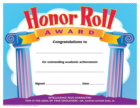free honor roll certificate template certificate honor roll award 30 pk 8 1 2 x 11 t 2959