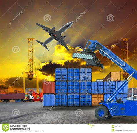 logistic business working in container shipping yard with dusky sky and jet plane cargo flying