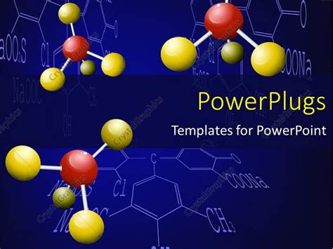 Powerpoint Template Three Chemical Molecules With Yellow And Red Colored Nodes 6781 Chemistry Powerpoint Template