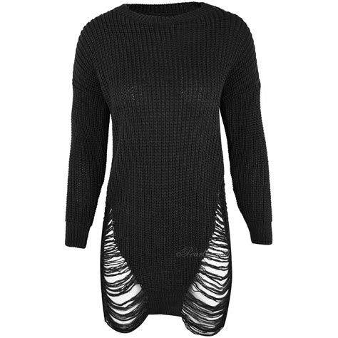 Ripped Sweater new womens ripped jumper dress top knitted