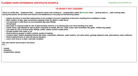 Experience Letter With Responsibilities Plumber Work Experience Letters