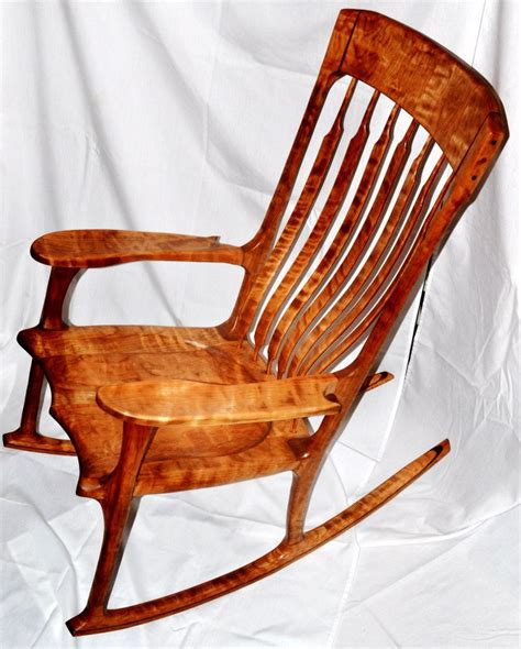 Cherry Rocking Chair - figured cherry and walnut accent rocking chair