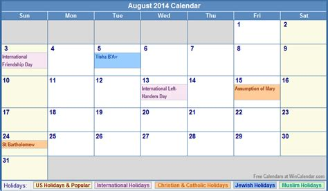 Aug 2014 Calendar August 2014 Calendar With Holidays As Picture
