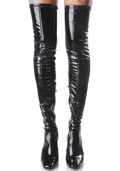 thigh high boots black thigh high clear heel boot dolls kill