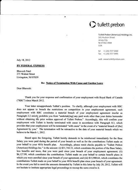termination employment letter template addictionary