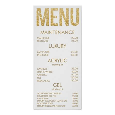 Black Gold Glitter Salon Menu Wall Poster Zazzle Com Pedicure Menu Template