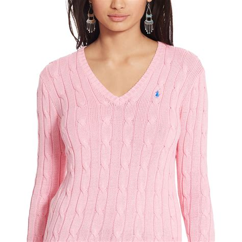 ralph v neck cable knit jumper womens lyst polo ralph cable knit v neck sweater in pink