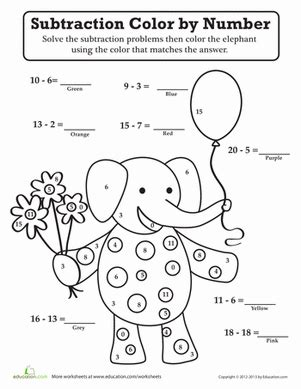 subtraction coloring pages for kindergarten subtraction color by number worksheet education com