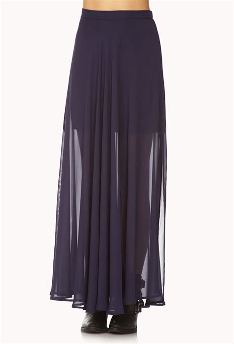 forever 21 slit chiffon maxi skirt in blue lyst