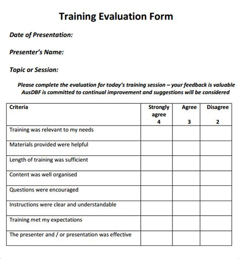 9 Training Evaluation Form Sle Free Exles Format Sle Templates Simple Survey Form Template