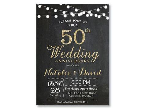 50th Wedding Anniversary Invitation. Gold Glitter