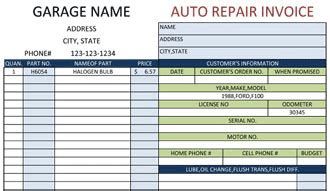 automotive repair order template excel invoice software